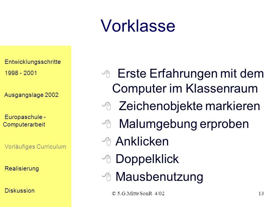 © 5.G.Mitte SonR 4/0213 Vorklasse Erste Erfahrungen mit dem Computer im Klassenraum Zeichenobjekte markieren Malumgebung erproben Anklicken Doppelklick Mausbenutzung Entwicklungsschritte 1998 - 2001 Ausgangslage 2002 Europaschule - Computerarbeit Vorläufiges Curriculum Realisierung Diskussion