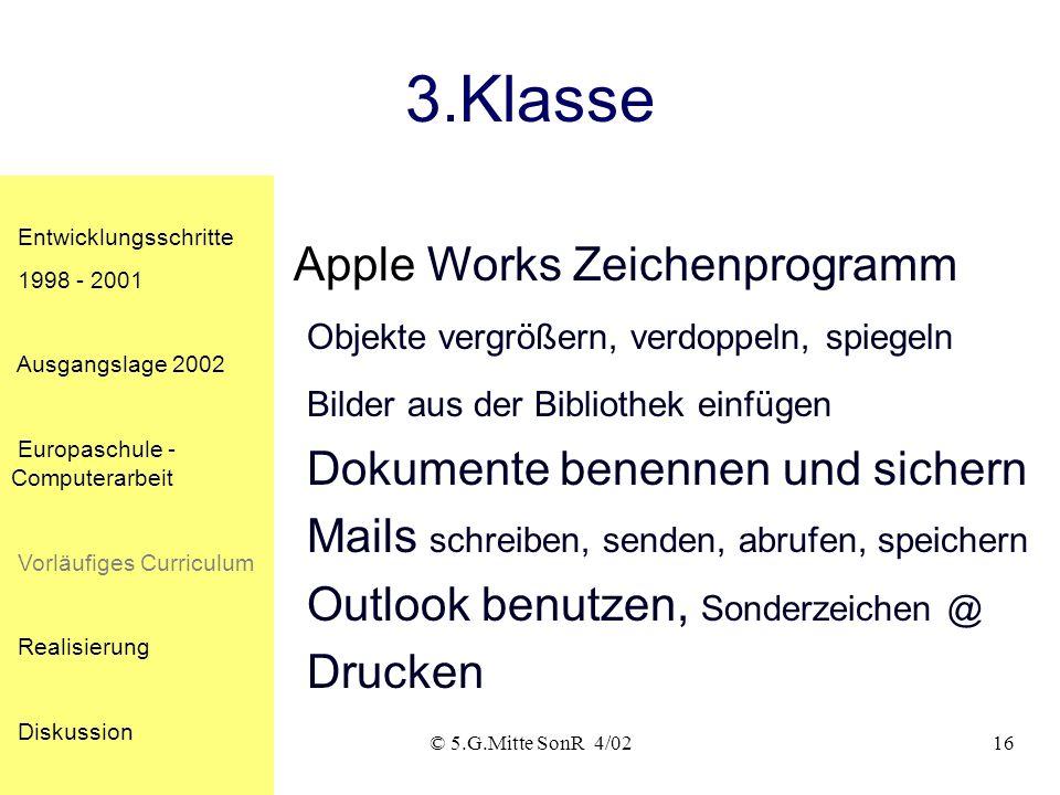 © 5.G.Mitte SonR 4/0215 2.Klasse Entwicklungsschritte 1998 - 2001 Ausgangslage 2002 Europaschule - Computerarbeit Vorläufiges Curriculum Realisierung