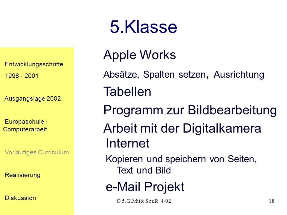 © 5.G.Mitte SonR 4/0217 4.Klasse Apple Works Dokumentengröße,Seitenansicht,Papierformat Menübefehle Rückgängig, auswählen, kopieren, einfügen Internet
