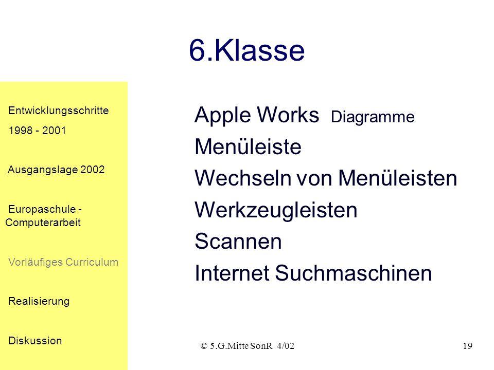 © 5.G.Mitte SonR 4/0219 6.Klasse Apple Works Diagramme Menüleiste Wechseln von Menüleisten Werkzeugleisten Scannen Internet Suchmaschinen Entwicklungsschritte 1998 - 2001 Ausgangslage 2002 Europaschule - Computerarbeit Vorläufiges Curriculum Realisierung Diskussion