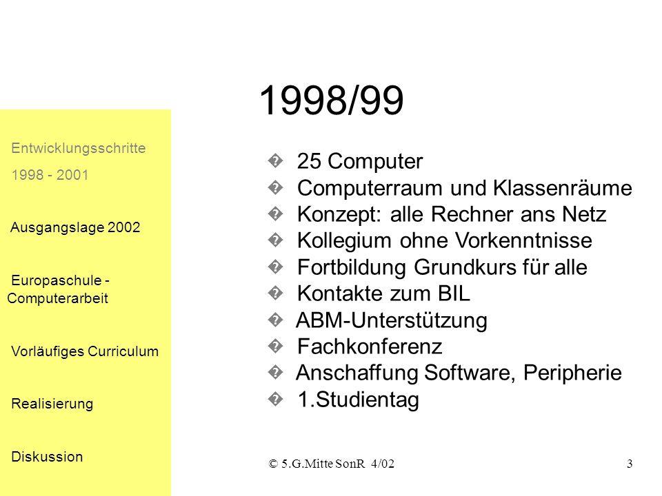 © 5.G.Mitte SonR 4/022 Bausteine Entwicklungsschritte 1998 - 2001 Ausgangslage 2002 Europaschule - Computerarbeit Vorläufiges Curriculum Realisierung