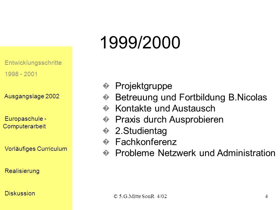 © 5.G.Mitte SonR 4/023 1998/99 Entwicklungsschritte 1998 - 2001 Ausgangslage 2002 Europaschule - Computerarbeit Vorläufiges Curriculum Realisierung Di