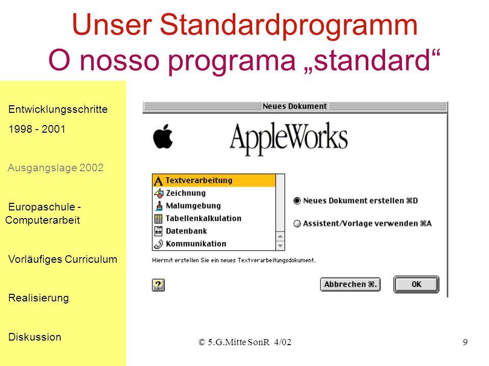© 5.G.Mitte SonR 4/029 Unser Standardprogramm O nosso programa standard Entwicklungsschritte 1998 - 2001 Ausgangslage 2002 Europaschule - Computerarbeit Vorläufiges Curriculum Realisierung Diskussion
