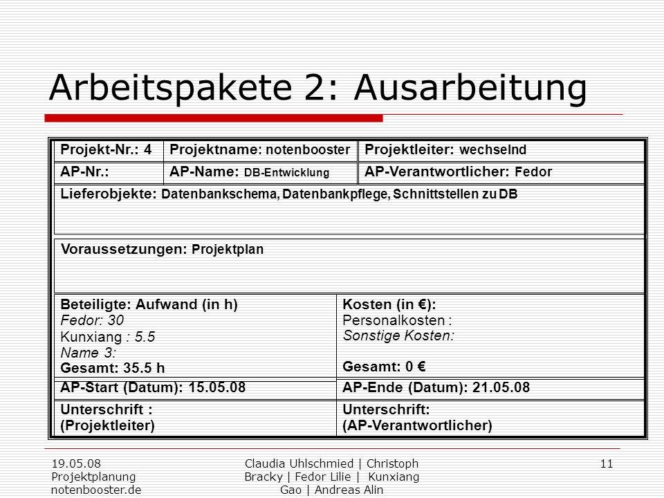 19.05.08 Projektplanung notenbooster.de Claudia Uhlschmied | Christoph Bracky | Fedor Lilie | Kunxiang Gao | Andreas Alin 11 Arbeitspakete 2: Ausarbei