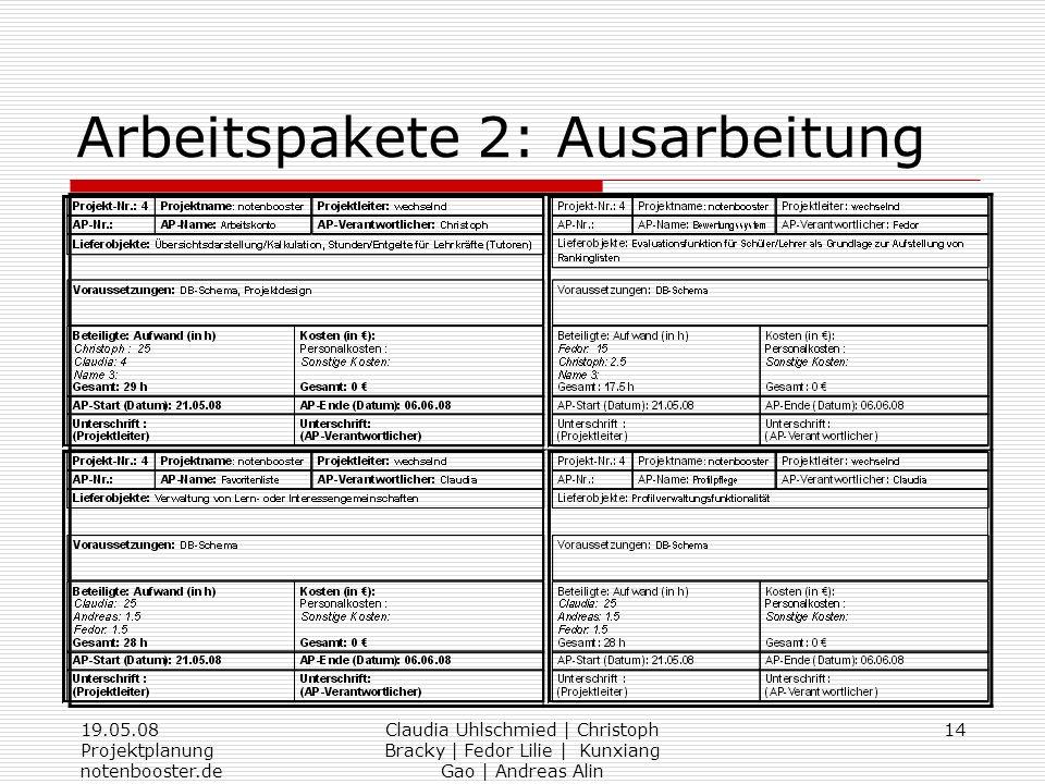 19.05.08 Projektplanung notenbooster.de Claudia Uhlschmied | Christoph Bracky | Fedor Lilie | Kunxiang Gao | Andreas Alin 14 Arbeitspakete 2: Ausarbei