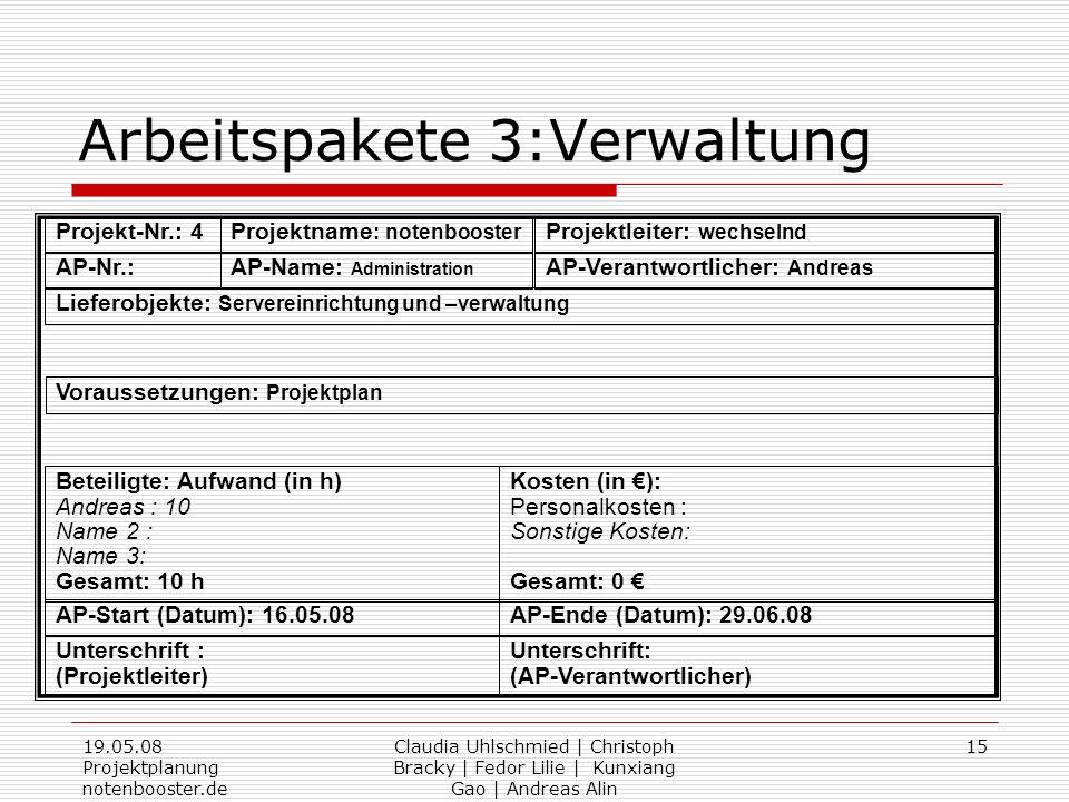 19.05.08 Projektplanung notenbooster.de Claudia Uhlschmied | Christoph Bracky | Fedor Lilie | Kunxiang Gao | Andreas Alin 15 Arbeitspakete 3:Verwaltun