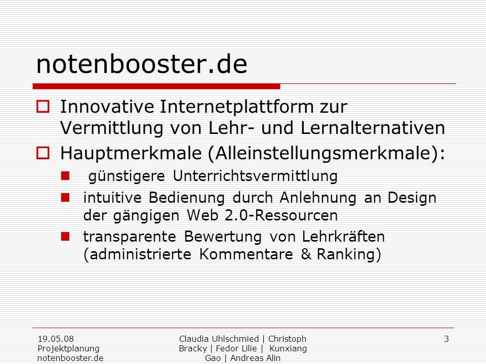 19.05.08 Projektplanung notenbooster.de Claudia Uhlschmied | Christoph Bracky | Fedor Lilie | Kunxiang Gao | Andreas Alin 3 notenbooster.de Innovative
