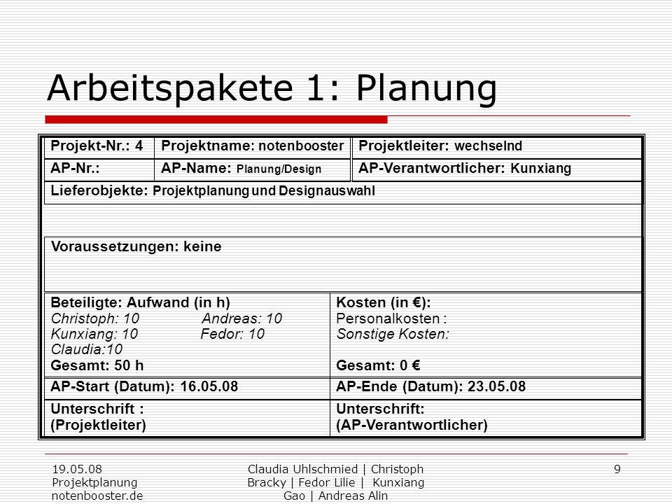19.05.08 Projektplanung notenbooster.de Claudia Uhlschmied | Christoph Bracky | Fedor Lilie | Kunxiang Gao | Andreas Alin 9 Arbeitspakete 1: Planung P