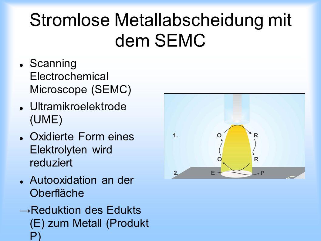 Stromlose Metallabscheidung mit dem SEMC Scanning Electrochemical Microscope (SEMC) Ultramikroelektrode (UME) Oxidierte Form eines Elektrolyten wird r