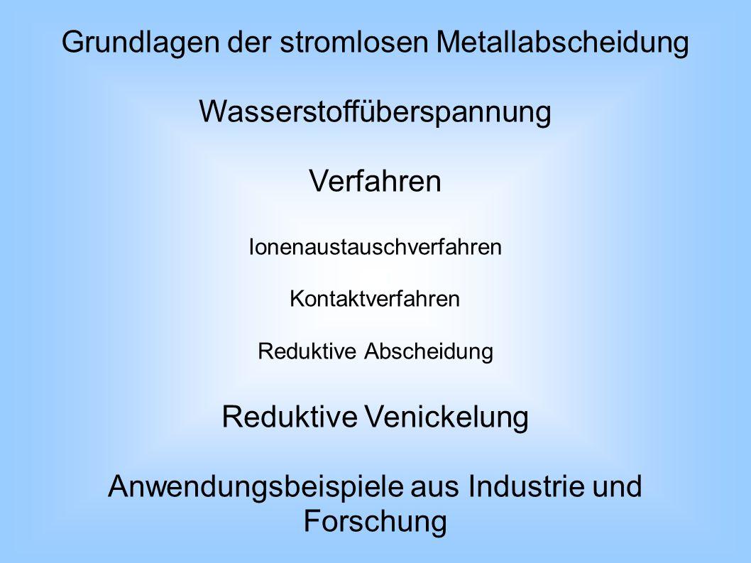 Grundlagen der stromlosen Metallabscheidung außenstromlos Spannungsdifferenz Redoxreaktion zweier unterschiedlich edler Metalle Anode:Me (1) Me z+ (1) + ze - Kathode:Me z+ (2) + ze - Me (2) Verfahren unterscheiden sich in Reduktionsmitteln Wasserstoffüberspannung