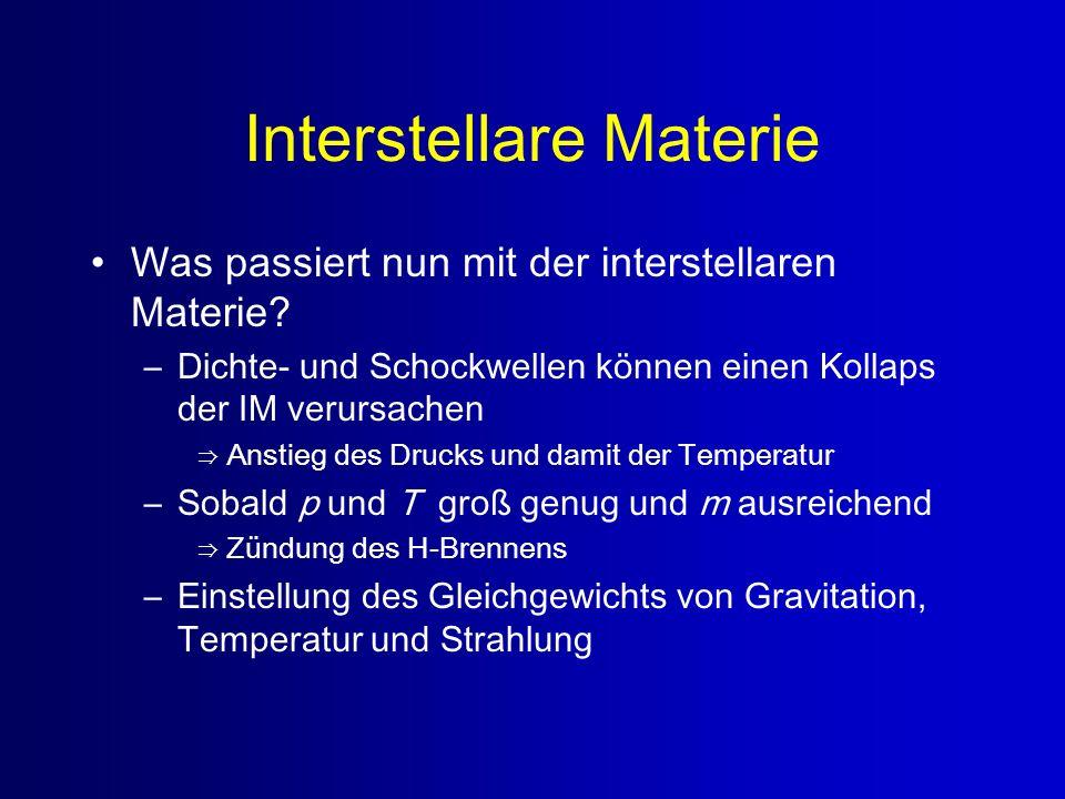 Interstellare Materie Was passiert nun mit der interstellaren Materie? –Dichte- und Schockwellen können einen Kollaps der IM verursachen Anstieg des D