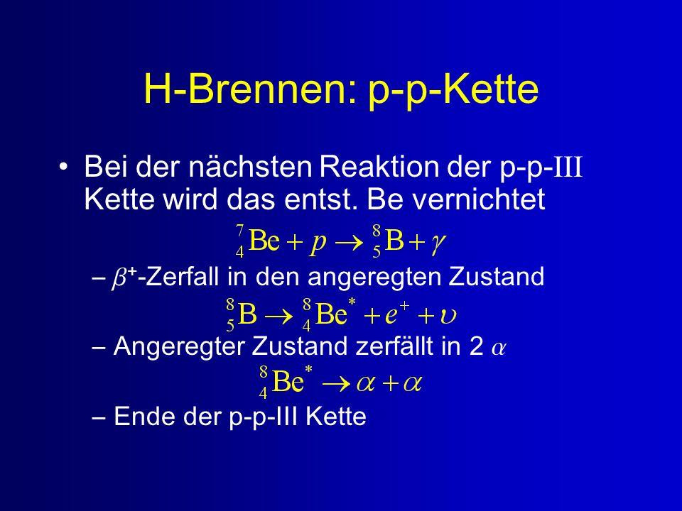 H-Brennen: p-p-Kette Bei der nächsten Reaktion der p-p- III Kette wird das entst. Be vernichtet – + -Zerfall in den angeregten Zustand –Angeregter Zus