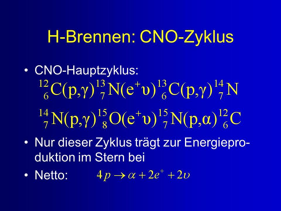 H-Brennen: CNO-Zyklus CNO-Hauptzyklus: Nur dieser Zyklus trägt zur Energiepro- duktion im Stern bei Netto: