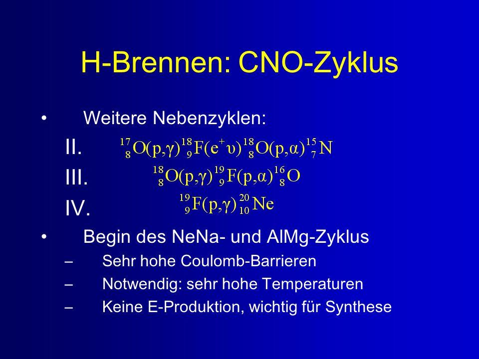 H-Brennen: CNO-Zyklus Weitere Nebenzyklen: II. III. IV. Begin des NeNa- und AlMg-Zyklus –Sehr hohe Coulomb-Barrieren –Notwendig: sehr hohe Temperature