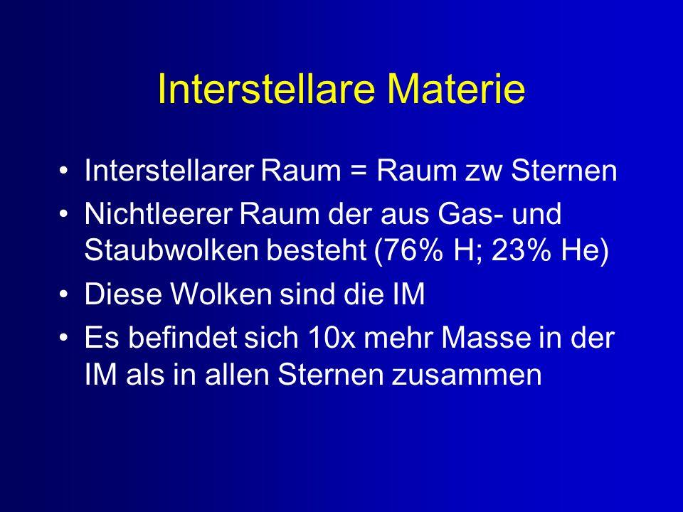 Interstellare Materie Interstellarer Raum = Raum zw Sternen Nichtleerer Raum der aus Gas- und Staubwolken besteht (76% H; 23% He) Diese Wolken sind di