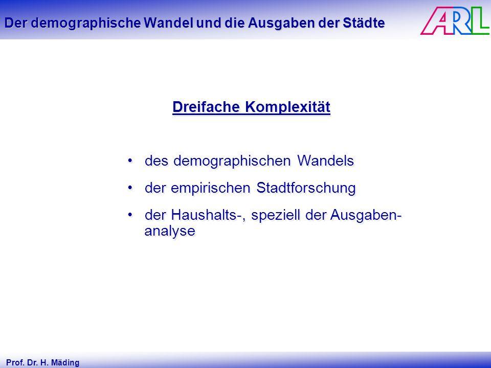 Prof. Dr. H. Mäding Der demographische Wandel und die Ausgaben der Städte Dreifache Komplexität des demographischen Wandels der empirischen Stadtforsc