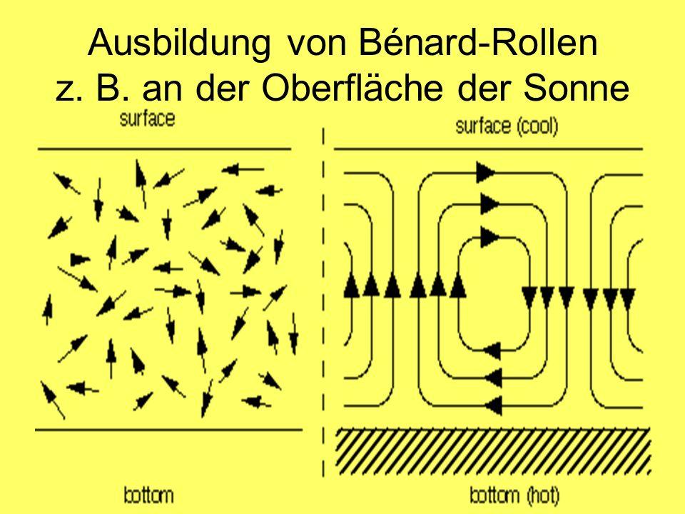 Ausbildung von Bénard-Rollen z. B. an der Oberfläche der Sonne
