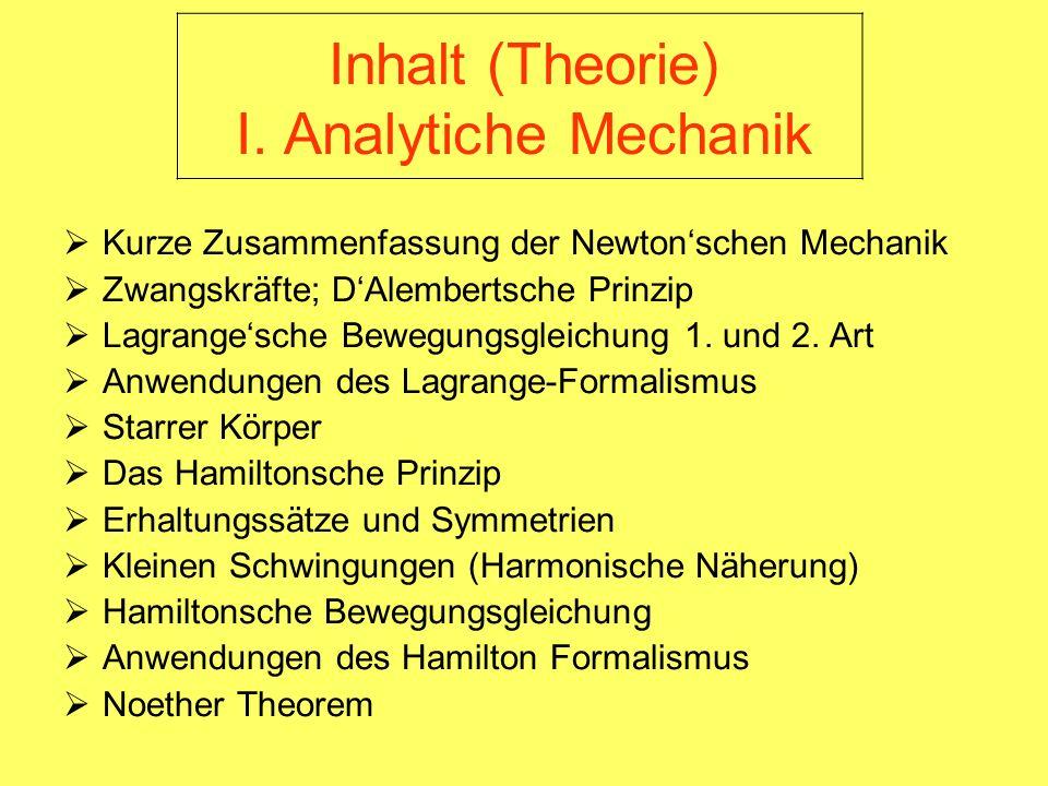 Inhalt (Theorie) I. Analytiche Mechanik Kurze Zusammenfassung der Newtonschen Mechanik Zwangskräfte; DAlembertsche Prinzip Lagrangesche Bewegungsgleic