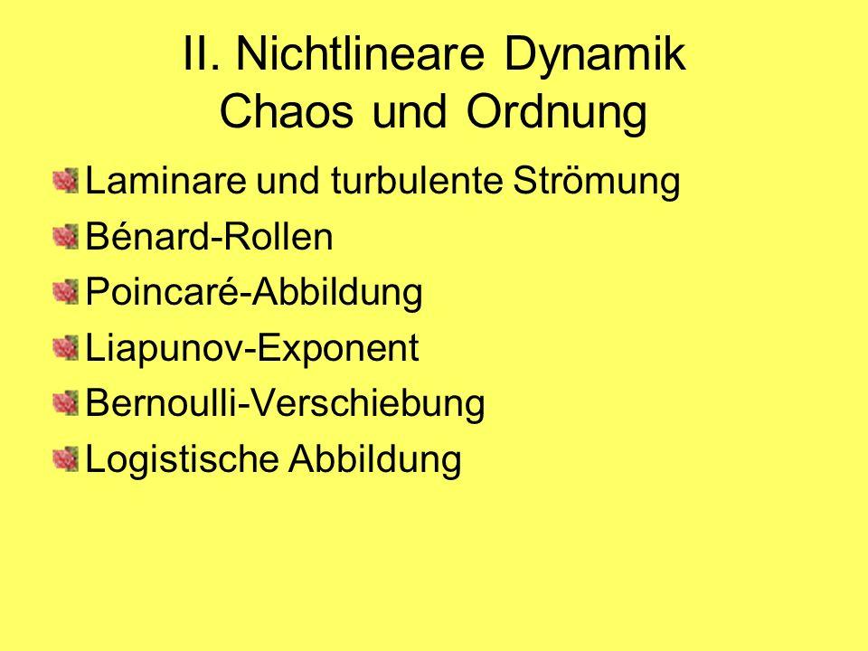 II. Nichtlineare Dynamik Chaos und Ordnung Laminare und turbulente Strömung Bénard-Rollen Poincaré-Abbildung Liapunov-Exponent Bernoulli-Verschiebung