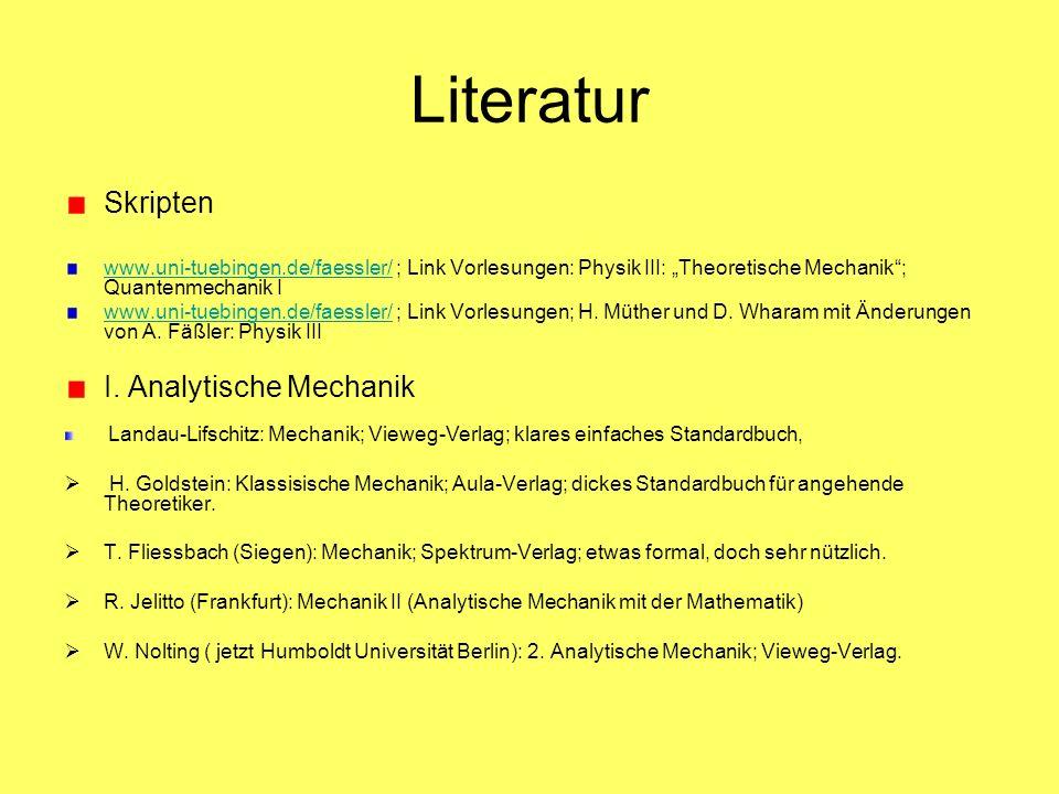 Literatur Skripten www.uni-tuebingen.de/faessler/www.uni-tuebingen.de/faessler/ ; Link Vorlesungen: Physik III: Theoretische Mechanik; Quantenmechanik