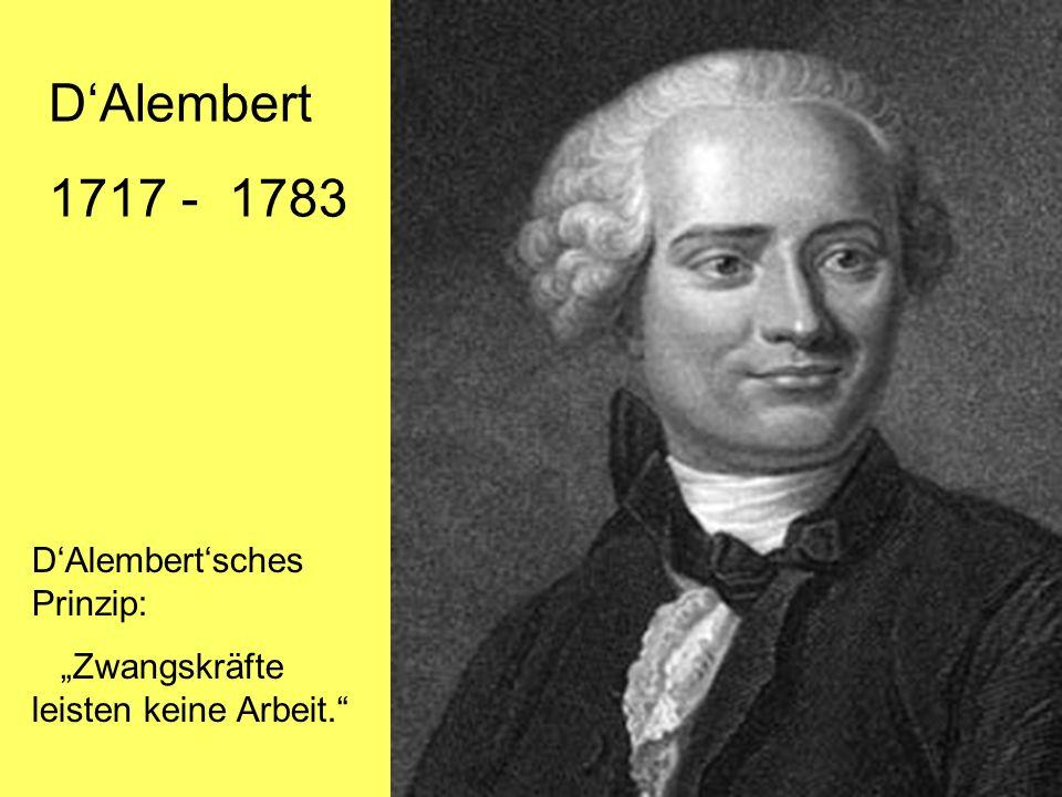 DAlembert 1717 - 1783 DAlembertsches Prinzip: Zwangskräfte leisten keine Arbeit.