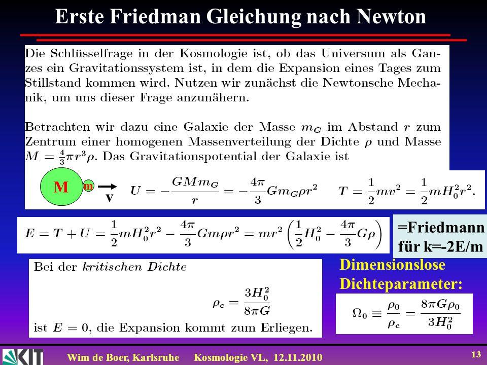 Wim de Boer, KarlsruheKosmologie VL, 12.11.2010 13 Erste Friedman Gleichung nach Newton Dimensionslose Dichteparameter: M m v =Friedmann für k=-2E/m