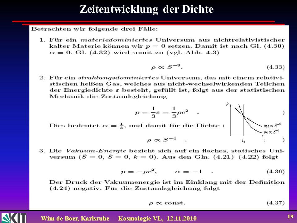 Wim de Boer, KarlsruheKosmologie VL, 12.11.2010 19 Zeitentwicklung der Dichte