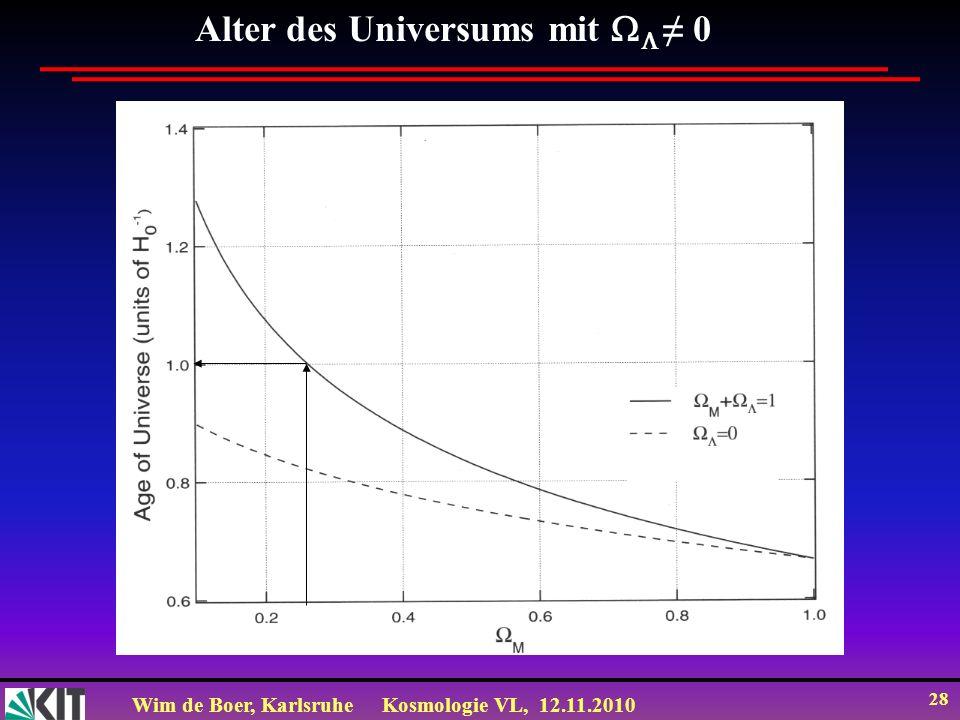 Wim de Boer, KarlsruheKosmologie VL, 12.11.2010 28 Alter des Universums mit 0