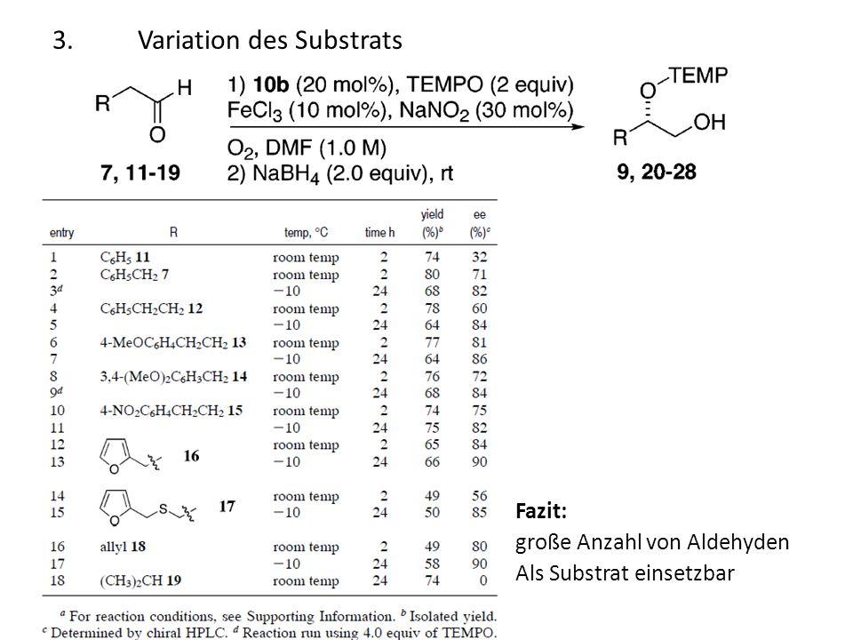 3.Variation des Substrats Fazit: große Anzahl von Aldehyden Als Substrat einsetzbar