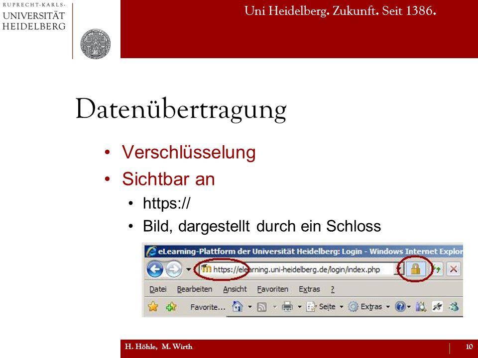 Uni Heidelberg. Zukunft. Seit 1386. Datenübertragung Verschlüsselung Sichtbar an https:// Bild, dargestellt durch ein Schloss H. Höhle, M. Wirth10