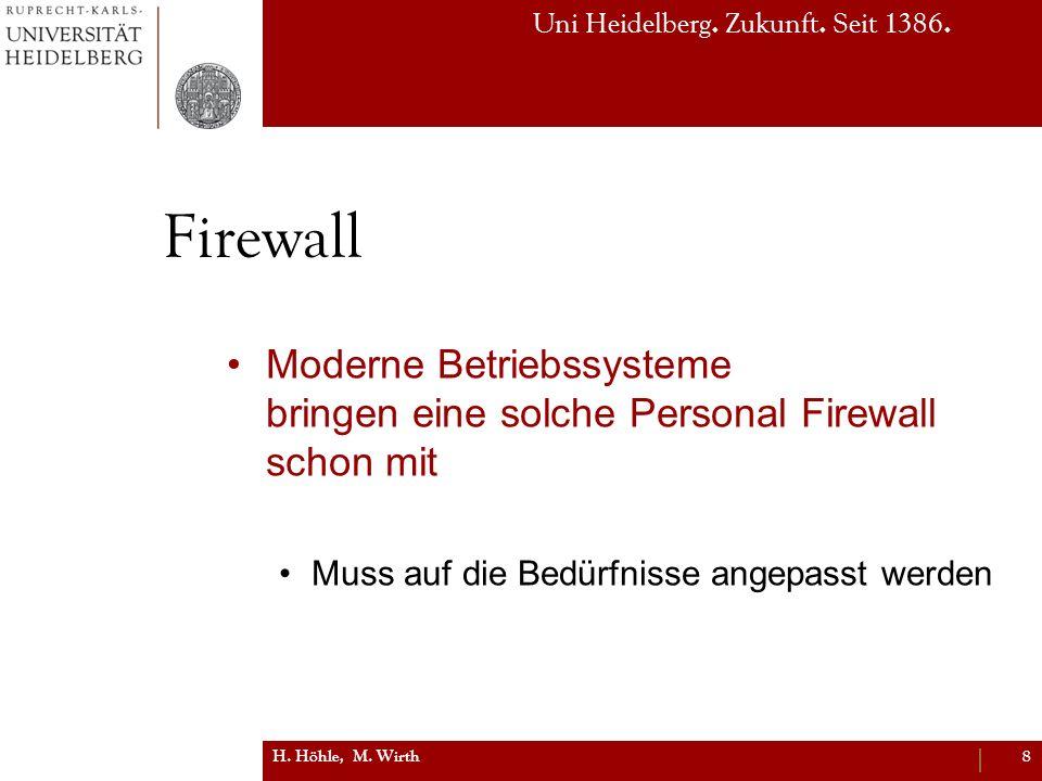 Uni Heidelberg. Zukunft. Seit 1386. Firewall Moderne Betriebssysteme bringen eine solche Personal Firewall schon mit Muss auf die Bedürfnisse angepass