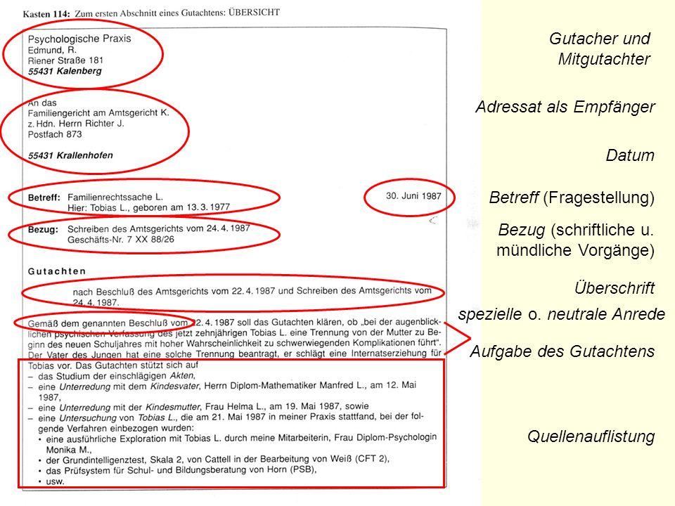 Gutacher und Mitgutachter Adressat als Empfänger Betreff (Fragestellung) Datum Bezug (schriftliche u. mündliche Vorgänge) spezielle o. neutrale Anrede