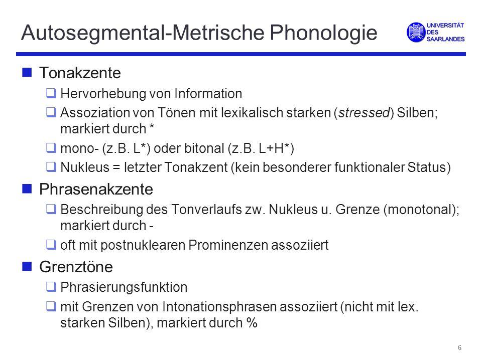 5 Autosegmental-Metrische Phonologie nDekomponierung von Intonationskonturen in Ton- Sequenzen nmehrere unabhängige Ebenen mit eigenständigen Elementen ( Autosegmente), z.B.