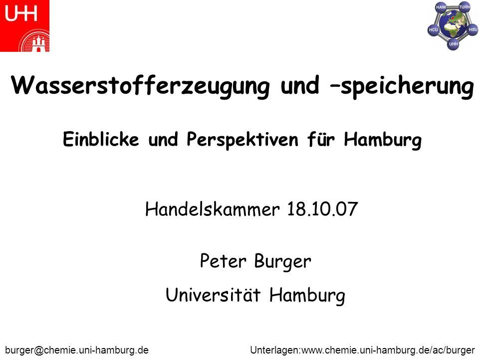 Wasserstofferzeugung und –speicherung Einblicke und Perspektiven für Hamburg Peter Burger Universität Hamburg Handelskammer 18.10.07 burger@chemie.uni-hamburg.de Unterlagen:www.chemie.uni-hamburg.de/ac/burger