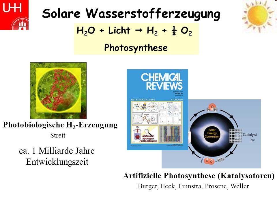 Solare Wasserstofferzeugung Burger, Heck, Luinstra, Prosenc, Weller Artifizielle Photosynthese (Katalysatoren) H 2 O + Licht H 2 + ½ O 2 Photosynthese Photobiologische H 2 -Erzeugung Streit ca.