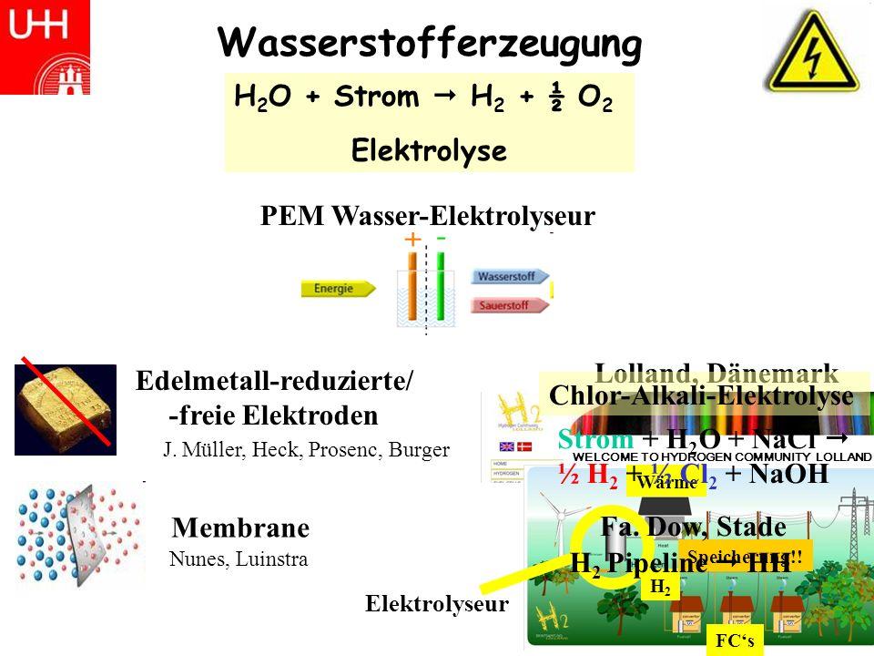 Wasserstofferzeugung H 2 O + Strom H 2 + ½ O 2 Elektrolyse PEM Wasser-Elektrolyseur Membrane Nunes, Luinstra J.