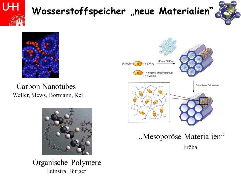 Wasserstoffspeicher neue Materialien Carbon Nanotubes Weller, Mews, Bormann, Keil Mesoporöse Materialien Fröba Luinstra, Burger Organische Polymere
