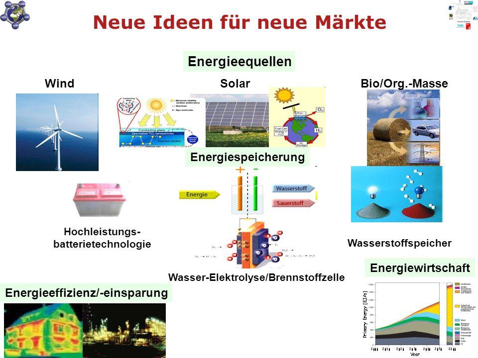 WindSolarBio/Org.-Masse Energieeffizienz/-einsparung Energieequellen Energiewirtschaft Hochleistungs- batterietechnologie Wasserstoffspeicher Wasser-Elektrolyse/Brennstoffzelle Energiespeicherung Neue Ideen für neue Märkte