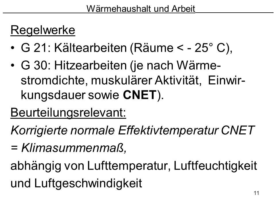 11 Wärmehaushalt und Arbeit __________________________ Regelwerke G 21: Kältearbeiten (Räume < - 25° C), G 30: Hitzearbeiten (je nach Wärme- stromdich