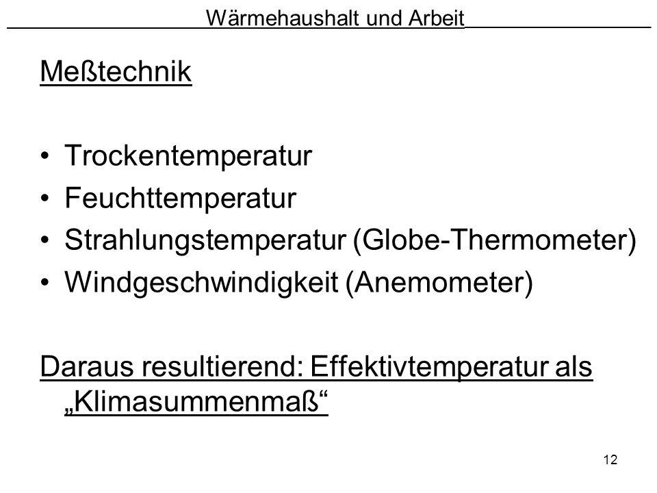 12 Wärmehaushalt und Arbeit __________________________ Meßtechnik Trockentemperatur Feuchttemperatur Strahlungstemperatur (Globe-Thermometer) Windgesc