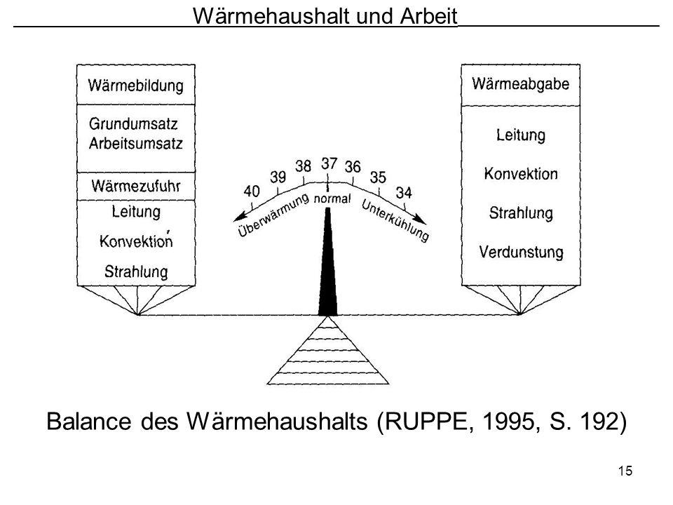 15 Wärmehaushalt und Arbeit ________________________ Balance des Wärmehaushalts (RUPPE, 1995, S. 192)