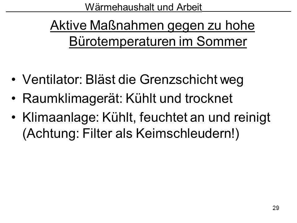 29 Wärmehaushalt und Arbeit ________________________ Aktive Maßnahmen gegen zu hohe Bürotemperaturen im Sommer Ventilator: Bläst die Grenzschicht weg