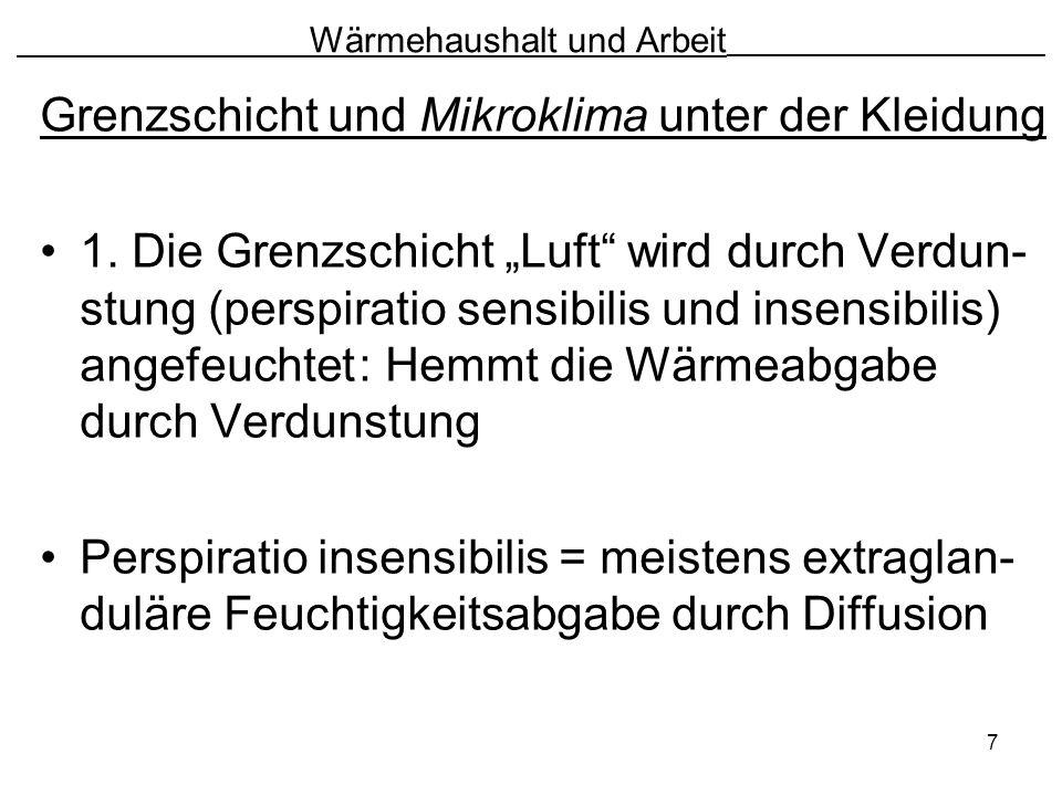 7 Wärmehaushalt und Arbeit ________________________ Grenzschicht und Mikroklima unter der Kleidung 1. Die Grenzschicht Luft wird durch Verdun- stung (
