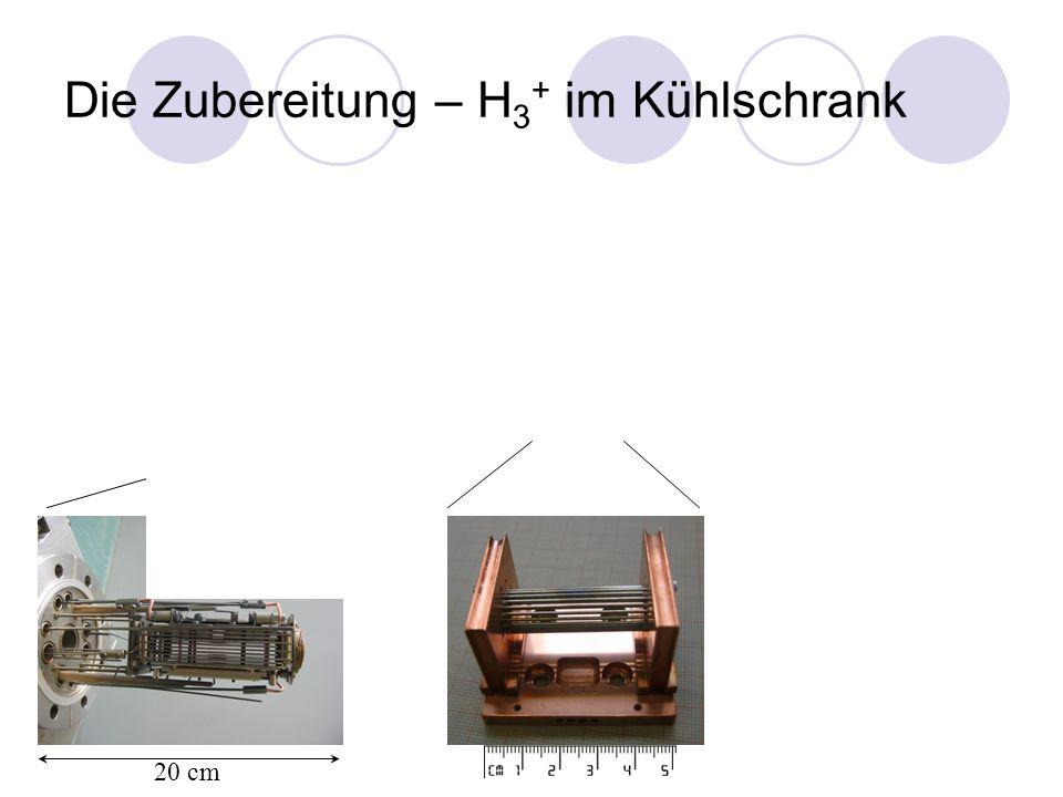 Die Zubereitung – H 3 + im Kühlschrank < -200 °C 200 °C 10-10 6 H 3 + Ionen 20 cm