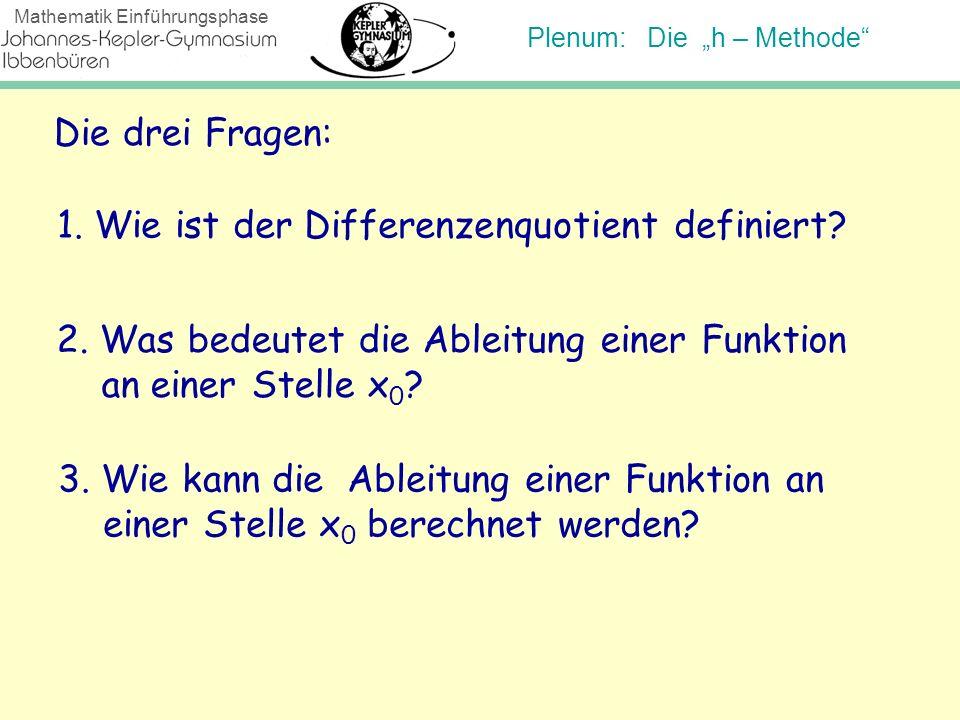 Plenum: Die h – Methode Mathematik Einführungsphase Die drei Fragen: 1. Wie ist der Differenzenquotient definiert? 2. Was bedeutet die Ableitung einer