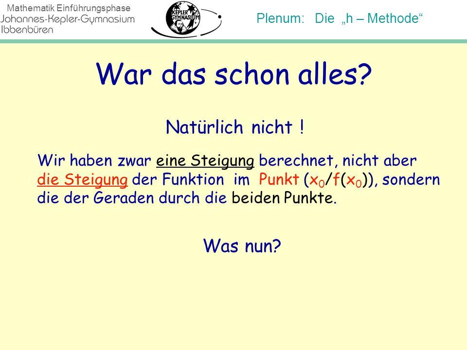 Plenum: Die h – Methode Mathematik Einführungsphase War das schon alles? Natürlich nicht ! Wir haben zwar eine Steigung berechnet, nicht aber die Stei