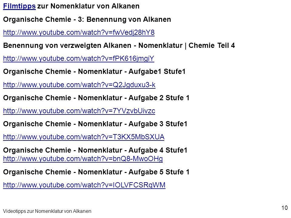 10 Videotipps zur Nomenklatur von Alkanen FilmtippsFilmtipps zur Nomenklatur von Alkanen Organische Chemie - 3: Benennung von Alkanen http://www.youtu