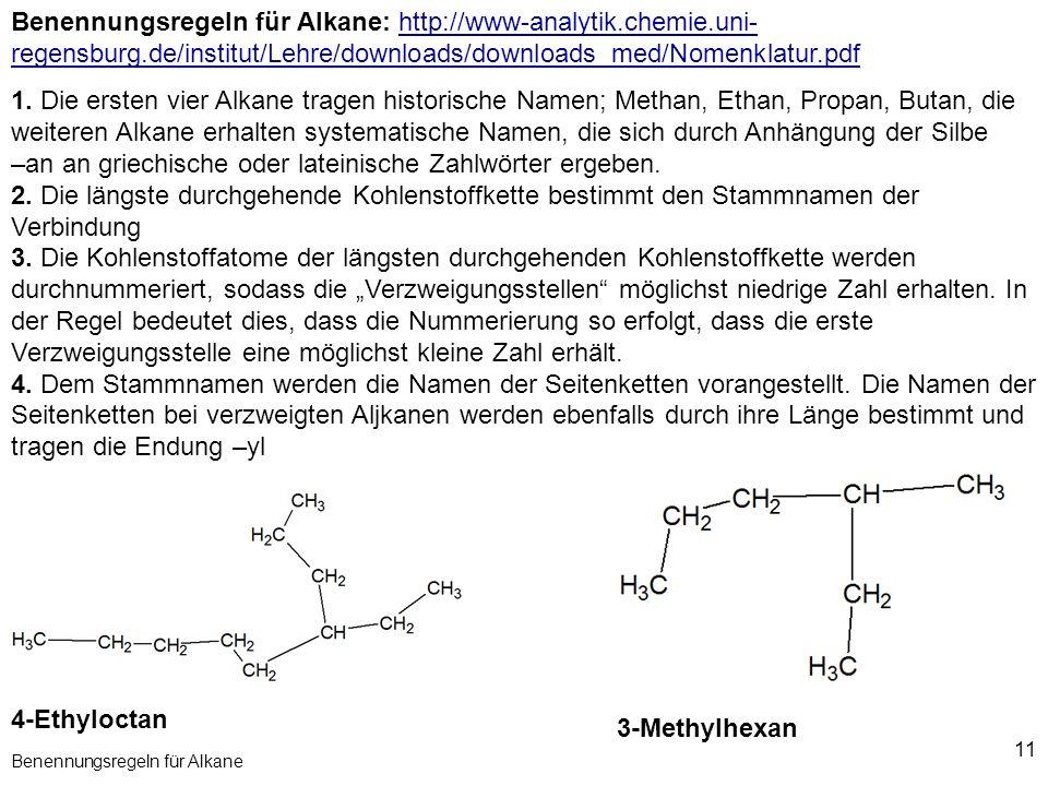 11 Benennungsregeln für Alkane Benennungsregeln für Alkane: http://www-analytik.chemie.uni- regensburg.de/institut/Lehre/downloads/downloads_med/Nomen