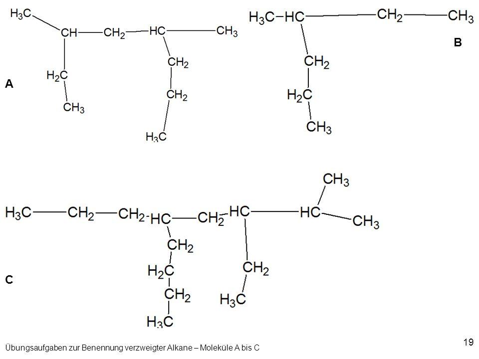 19 Übungsaufgaben zur Benennung verzweigter Alkane – Moleküle A bis C A B C