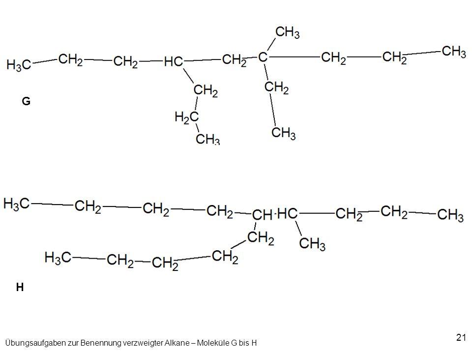 21 Übungsaufgaben zur Benennung verzweigter Alkane – Moleküle G bis H G H
